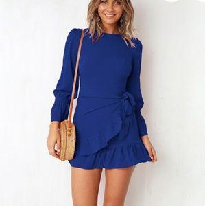New blue ruffle dress